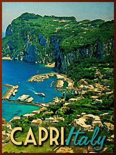 RESORT STYLE: Inspired by the bright, happy colours of Capri, Italy, here is some resort-style fashion to help you pack for a trip to the stunning island. Art Deco Posters, Vintage Posters, Capri Island, Art Deco Illustration, Illustrations, Capri Italy, Resort Style, Happy Colors, Travel Posters