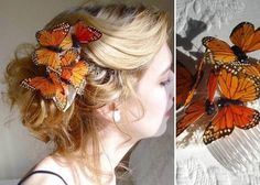 Hochzeit-Haar-Accessoires-schmetterling-orange http://www.optimalkarten.de/blog/
