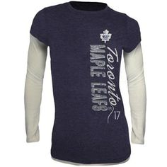 Old Time Hockey Toronto Maple Leafs Womens Romina Tri-Blend Thermal Fashion Top - Navy Blue