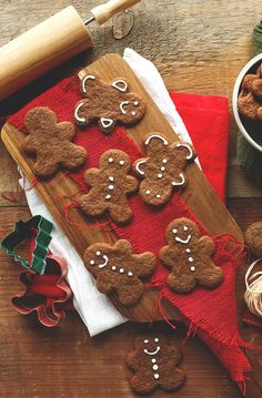 Vegan Gluten Free Gingerbread Men... Use coconut oil or light flavored olive oil in place of vegan butter...