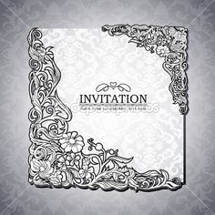 Abstract background with antique, luxury black and white vintage rich frame, banner, damask floral ornaments, invitation card, baroque style...