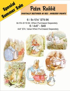 Peter Rabbit / Nursery Art Prints Set / Children's by IslandWest, $48.00