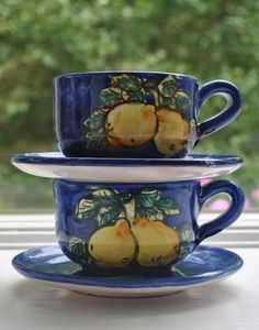 Blue Cups, Pears, Cup And Saucer, Terracotta, Handle, Hand Painted, Italy, Deep, Fruit