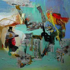 Moris GONTARD, Informations, 100 x 100 cm, huile et acrylique sur toile. http://www.galeriealaindaudet.fr/moris-gontard/