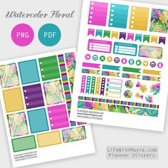 Watercolor Floral Planner Stickers