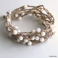 umla: Soft Nougat Silk Cuff with Mother of Pearl