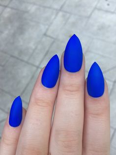 Stiletto nails fake nails matte nails blue press on by nailsbykate