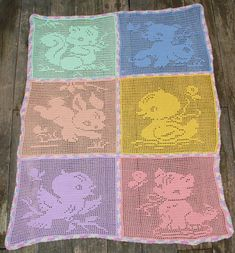 Filet Crochet Carriage or Crib Cover - Baby Animals - CROCHET