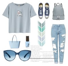 """""""Blue"""" by laras03 ❤ liked on Polyvore featuring WithChic, Topshop, MICHAEL Michael Kors, Kate Spade and Converse"""