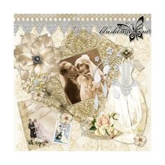 Digital Scrapbooking by blushbutter Victorian Wedding Scrapbook... ❤ liked on Polyvore featuring fonds, vintage and wedding