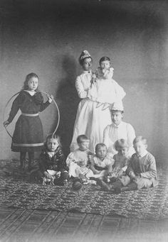 Balmoral, 1890 Two nannies taking care of Princess Margaret of Connaught, later Crown Princess of Sweden; Princess Patricia of Connaught, later Lady Patricia Ramsay; Prince Alexander of Battenberg; Prince Waldemar of Prussia; Princess Victoria Eugenia of Battenberg, later Queen of Spain; Prince Arthur of Connaught; Prince Leopold of Battenberg