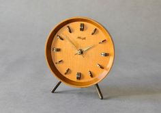 Vintage German wooden Kienzle desk clock table clock Mid-Century Modern 50s 60s