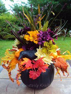 Large Black Pumpkin Fall Floral Arrangement by KreativelyKrafted, $65.00
