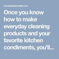Once you know how to make everyday cleaning products and your favorite kitchen condiments, you'll save yourself tons of trips to the store, reduce your carbon footprint with less plastic waste, save heaps of money, and remove tons of chemicals from your day to day life.