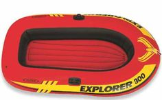 Intex Explorer 300, 3-Person Inflatable Boat Set with French Oars and High Output Air Pump 58332