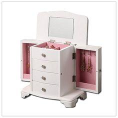Zoey Girls White Wooden Jewelry Box