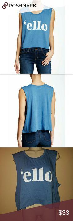 WILDFOX BLUE 'ELLO' TEE SHIRT Wildfox tee shirt 'ello' blue size small Wildfox Tops Muscle Tees