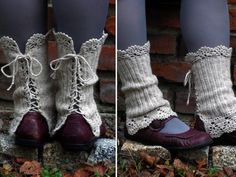 crocheted open work lacy leg warmers spats cuffs with strings. Use old boot cuffs, add lace to edges. Split and reseam the backs. Mori Girl Fashion, Diy Fashion, Fashion Styles, Street Fashion, Knitting Patterns, Sewing Patterns, Crochet Patterns, Crochet Ideas, Sewing Ideas
