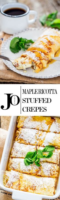 Maple Ricotta Stuffed Crepes - Tender and delicious crepes filled with a ricotta cheese and raisin filling, baked then topped with maple syrup.