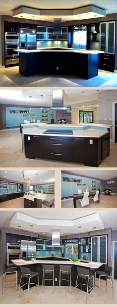 Love the blues - cool kitchen overall. I want this kitchen!!!!