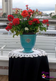 Potted Geraniums with roses, alstromeria & mums added for height and fullness