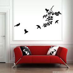 Stickers muraux Animaux - Sticker Oiseaux volants autour de branches | Ambiance-live.com