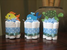 SIX Under the Sea Mini Diaper Cakes for Baby Shower Decoration or New Baby Gift. $45.00, via Etsy.