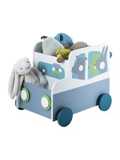 Vertbaudet Fahrbare Spielzeugkiste mit 4 Rädern in weiß