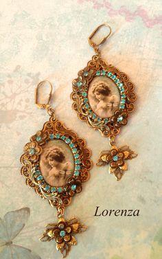 Blue victorian earrings by lorenza33 on Etsy, $40.00