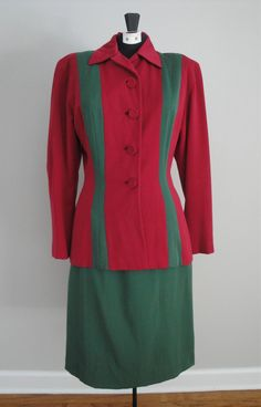 Vintage 1940s 40s Gabardine Suit Red and Green Holiday WWII Era. $97.00, via Etsy.
