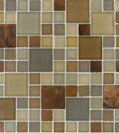 MS International Myrtle Metropolitan Blend of 1 in. x 1 in. & 2 in. x  2 in. Glass Mosaic Tiles