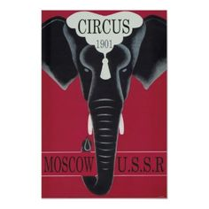 Shop Vintage Circus Poster, Moscow, Elephant Poster created by yesterdaysgirl. Vintage Circus Posters, Vintage Travel Posters, Vintage Elephant, Elephant Love, Love Posters, Custom Posters, Circus Pictures, Elephant Poster, Circus Theme