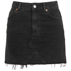 Women's Topshop Moto Cutoff Denim Miniskirt (€28) ❤ liked on Polyvore featuring skirts, mini skirts, bottoms, faldas, saias, denim cut offs, short skirts, high waisted mini skirt, denim skirt and short mini skirts