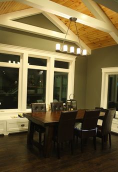 Another look at dark wood floors with <b>pine</b> ceilings and <b>white</b> trim. I ...