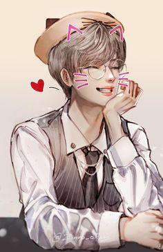 Got Anime, Anime Art, Angel Han, Chibi, Seventeen Wonwoo, Seventeen Memes, Wallpaper Aesthetic, Kpop Fanart, Art Studies
