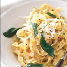 Fettuccine with Brown Butter and Fresh Sage...YUM!  Mix in sautéed 1/2-inch cubes of butternut squash, if you like.