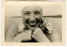 vintage bather smiling