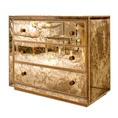 1940s Marbled Mirror Chest of Drawers with Brass Drawer Pulls