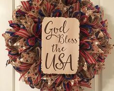 of July God Bless The USA Wreath, Labor Day Wreath, Military Wreath, Independence Wreath by TiraMercantile on Etsy Valentine Day Wreaths, Easter Wreaths, Holiday Wreaths, Valentines, Patriotic Wreath, 4th Of July Wreath, Flag Wreath, Wreaths For Front Door, Door Wreaths