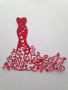 lot 3 découpes robes red carpet scrapbooking embellissement album scrap die cut déco : Embellissements par lafscrap