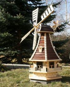 Holzdekoladen Holzwindmühle mit Solarbeleuchtung Typ 3.1   holzdekoladen