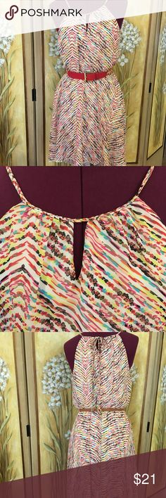 Dress Size small Multi color sleeveless classy summer dress. Beautiful summer colors. Lined sheer and flows when you move! As you wish Dresses High Low
