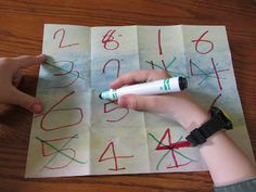Easy to make math review game to practice math facts.  www.theunlikelyhomeschool.com