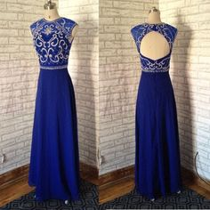 Royal Blue Cap Sleeves Open Back Emboridery Beaded Long Chiffon Prom Dress.Fashion Elegant Evening Dress,Long Party dress