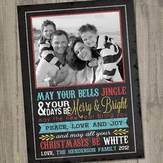 Chalkboard Christmas Wishes Printable Holiday Photo Card