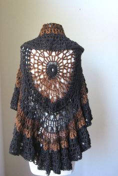 BLACK Shawl BROWN CROCHET Cape Wrap Capelet Spring by marianavail, $85.00