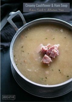 This delicious and healthy cauliflower and ham soup recipe is low carb, keto, Paleo, and even Whole 30 approved!