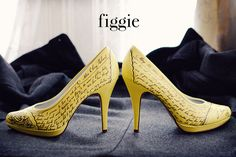 Yellow Wedding Shoes, Hand-Painted by Figgie | www.figgieshoes.com #weddingvows #vows #roses