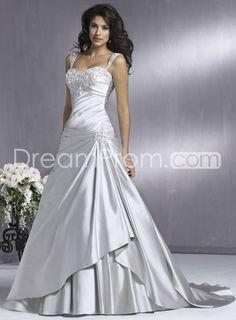 Gorgeous Elastic Woven Satin A-line/Princess Sweetheart Floor-Length Chapel Train Wedding Dresses