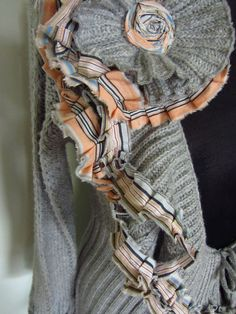 Upcycled Clothing / Gray Tattered Ruffles by GarageCoutureClothes